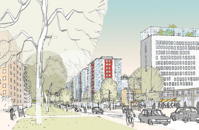 Vällingby Parkstad, stadsplanering och bostäder Råcksta 0