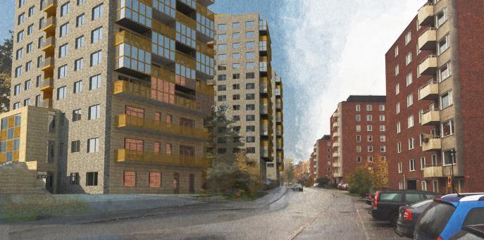 Sjödalsbacken, flerbostadshus med förskola och LSS-boende Huddinge 2