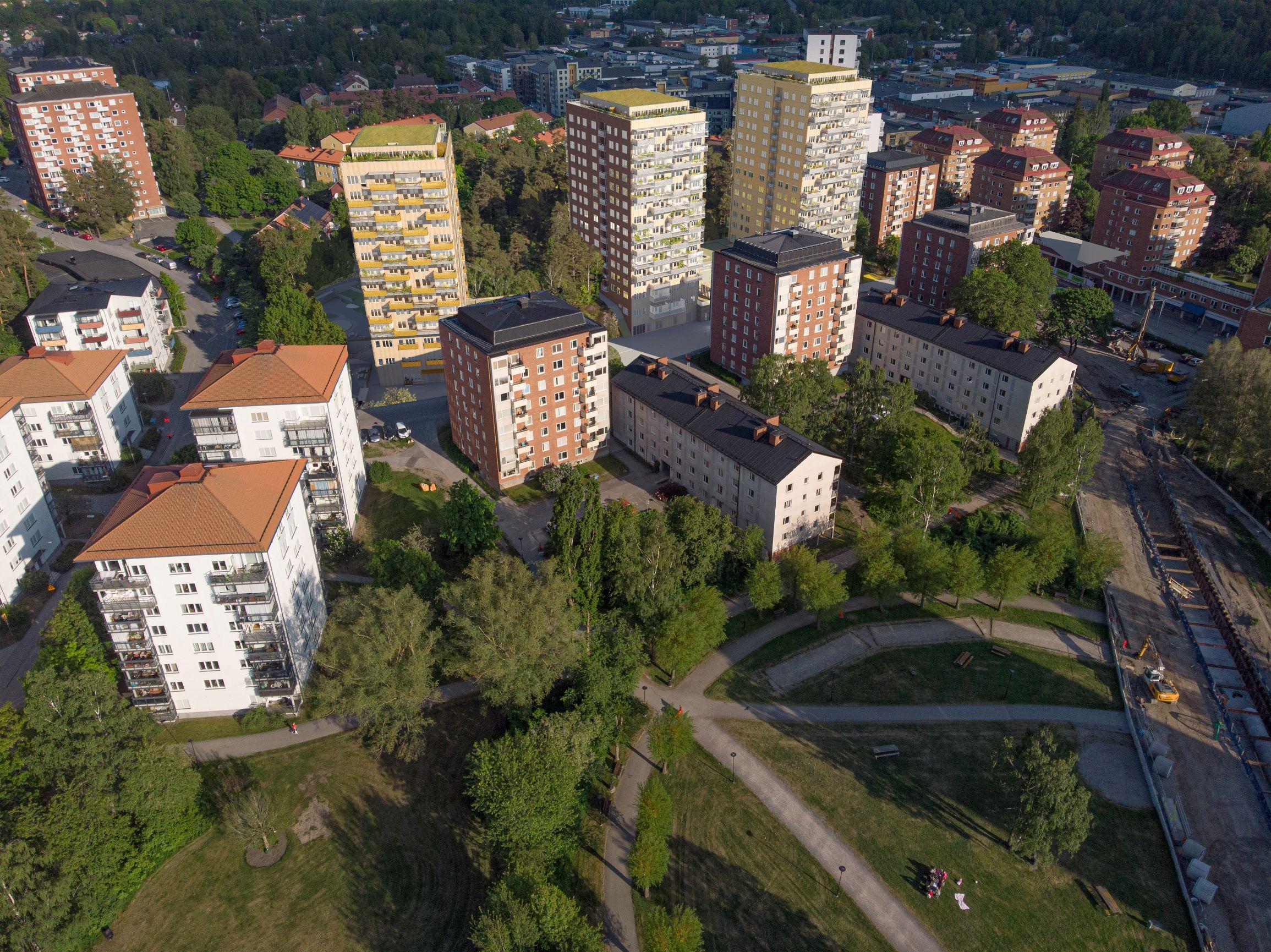 Sjödalsbacken, flerbostadshus med förskola och LSS-boende i Huddinge. 1